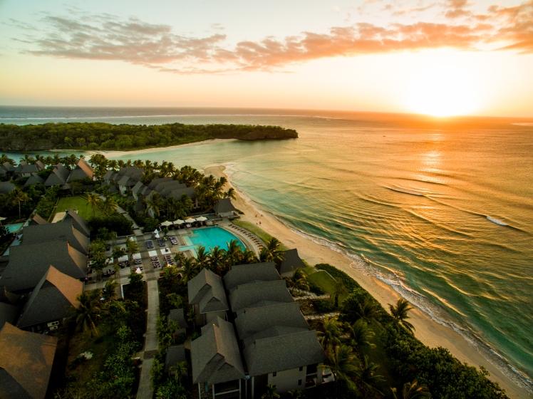 Sunset aerial over Natadola Bay