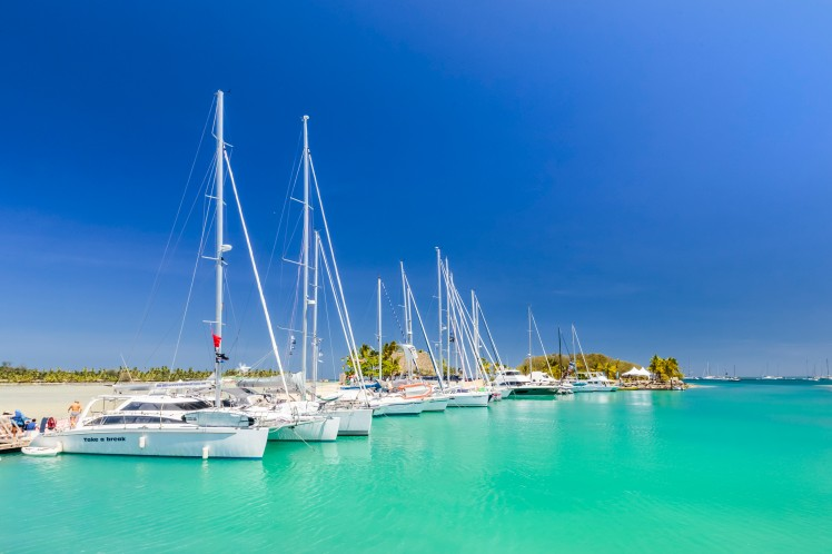 Moored Yachts - Musket Cove